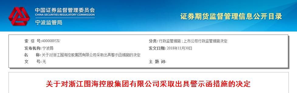 围海股份股东质押公司股票未告知 被监管出具警示函