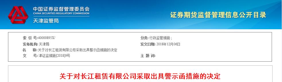 长江租赁将募集资金转借给他人 被监管出具警示函