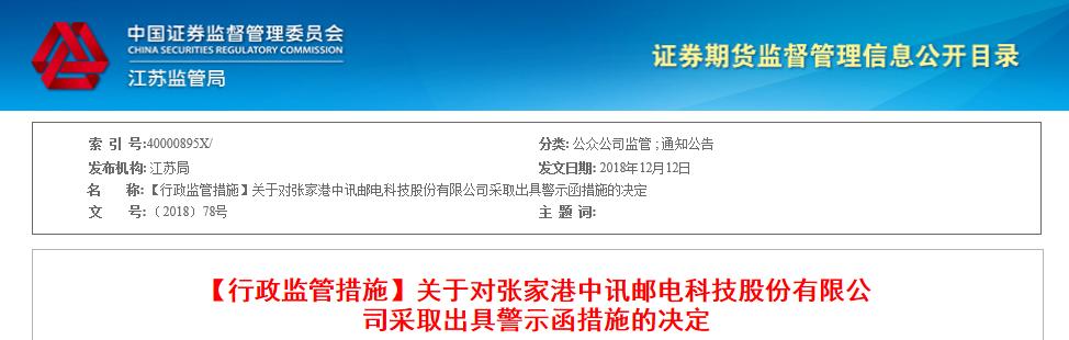 中讯邮电董事长股权冻结未披露 公司及董事长被警示