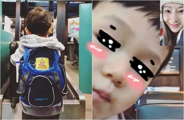 隋棠眼泛泪光为儿子送机 儿子一转身书包抢戏了